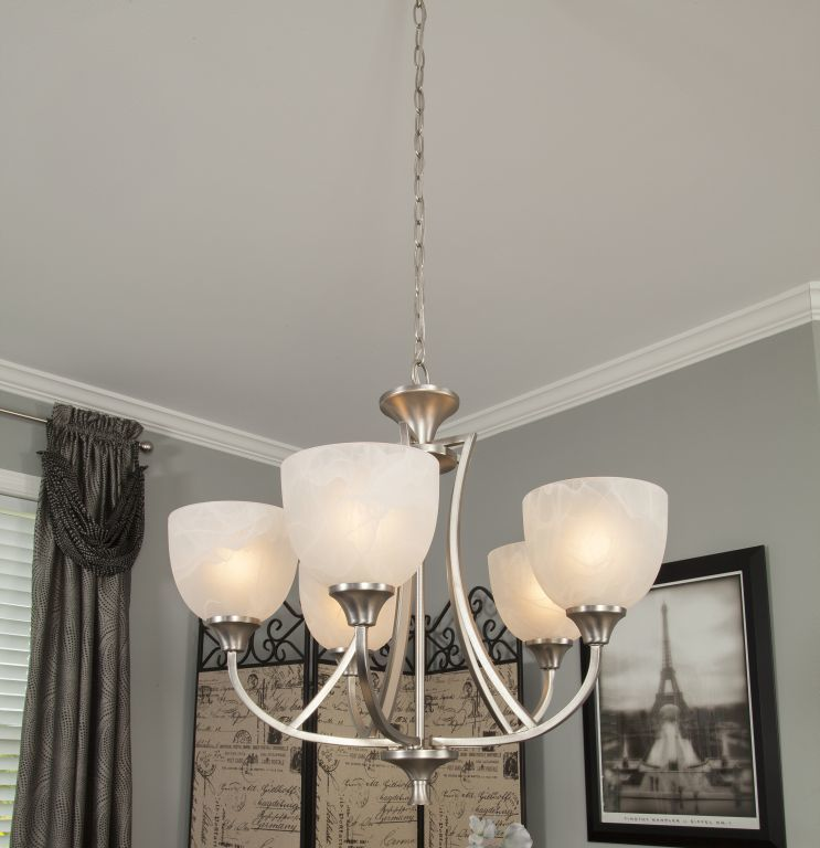 Std Brushed Nickel 5 Arm Dining Room Chandelier