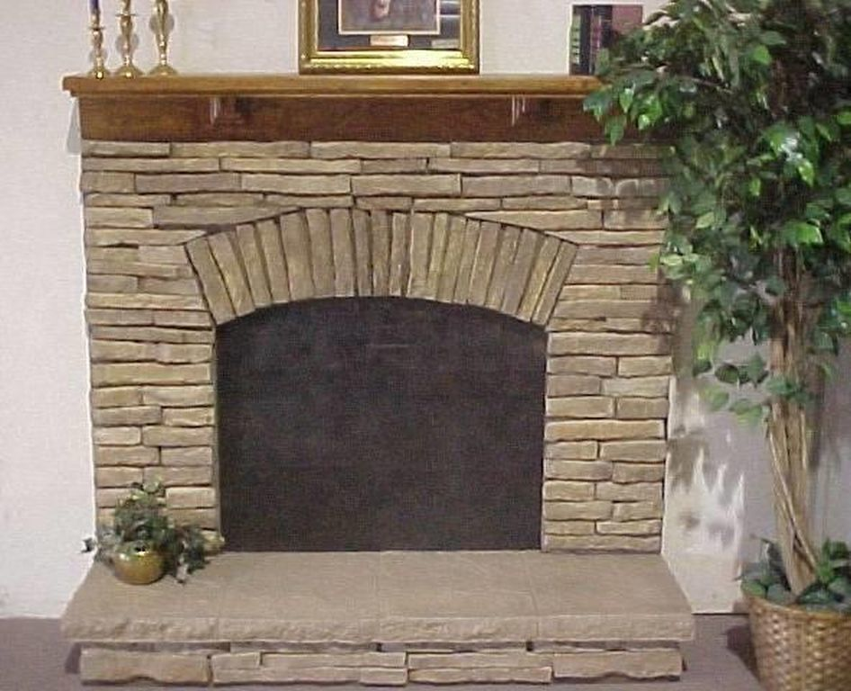 Half stacked stone fireplace r anell homes for Fireplace half stone