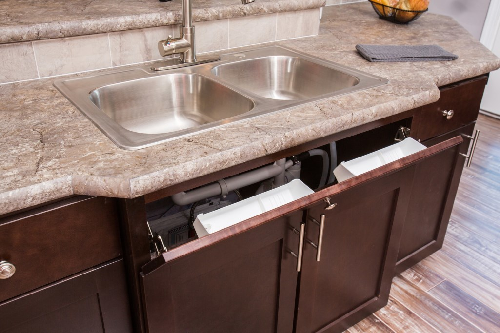 Opt. Tip Out Trays at Kitchen Sink | R-Anell Homes