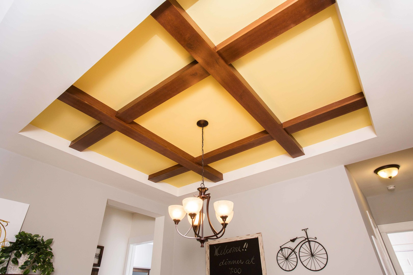 Tray Ceiling With Wood Beams R Anell